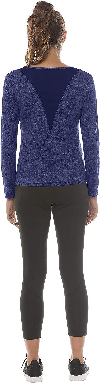 MoFiz Womens Long Sleeve Running Yoga Top Quick Dry Mesh Back Gym Workout Sports T-Shirt