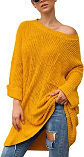 Mulisky Women Casual Loose Sweater Off Shoulder Pullover Oversized Knit Jumper Tops