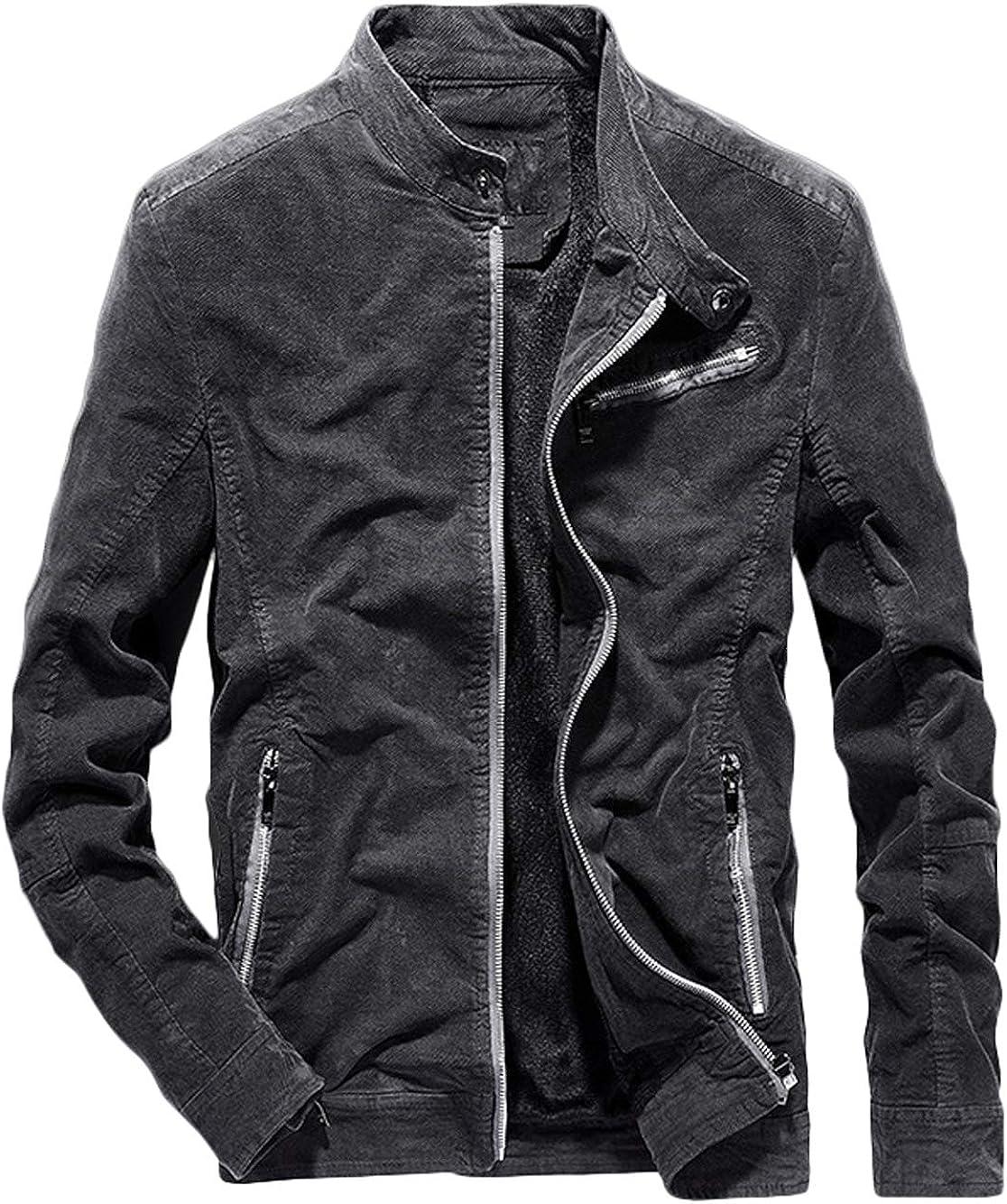 Youhan Men's Fitted Zip Up Fleece Lined Biker Jacket Coat