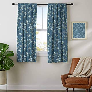 youpinnong Floral, Curtains Bathroom Window, Nature Elegance Featured Twiggy Plants Petals Spring Fashion Design, for Kitchen, W72 x L45 Inch Light Green Slate Blue