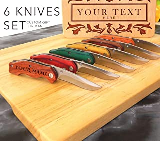 Set 6 Knife, Personalized Knives, Engraved Pocket Knives, Custom Knife, Pocket Knife, Groomsmen Gift, Folding Knife, Engraved knives