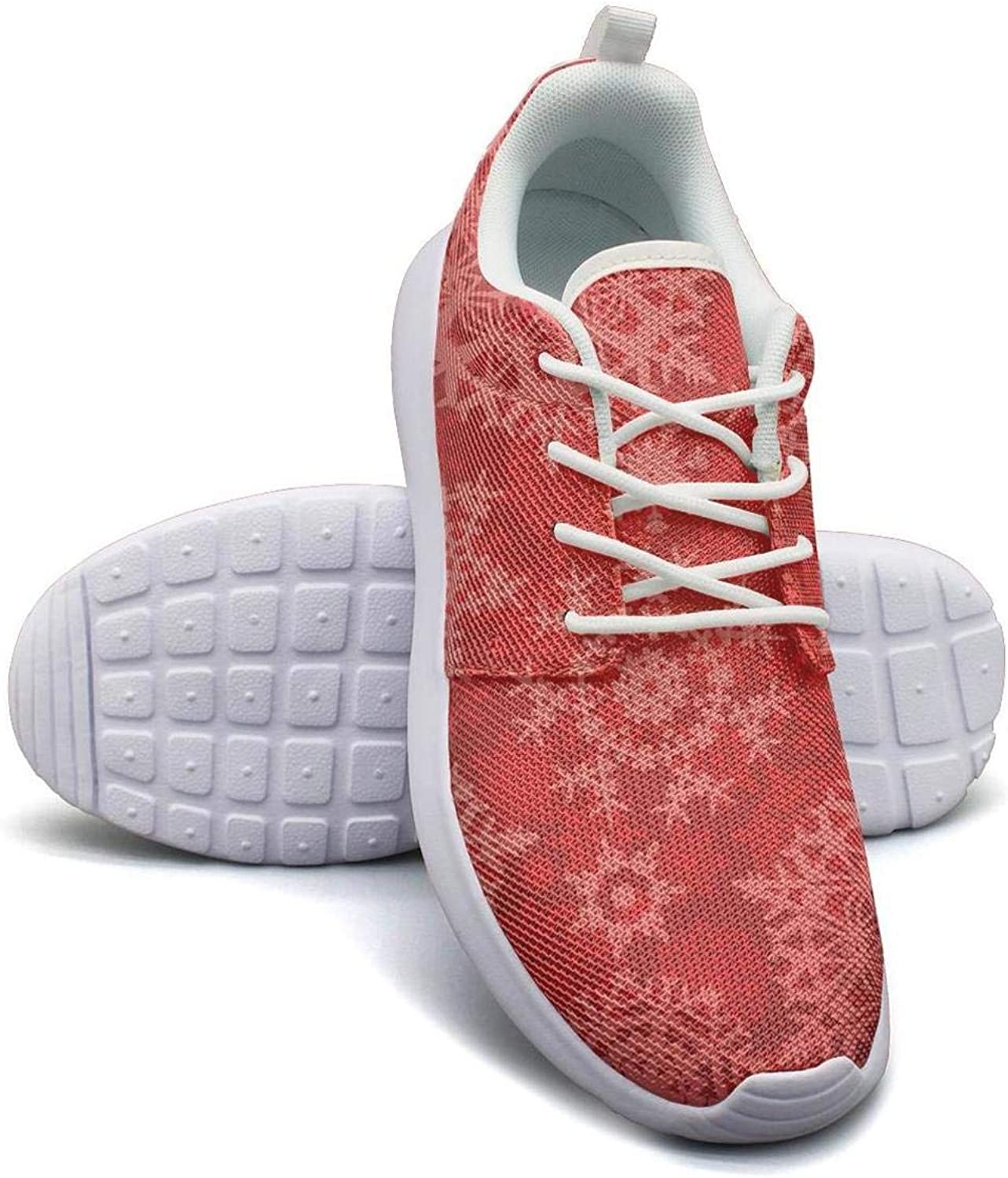 Gjsonmv Christmas red Snowflakes mesh Lightweight shoes for Women Dad Sports Hiking Sneakers shoes