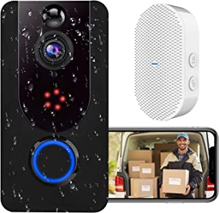 WiFi Video Doorbell Camera, 1080P Wireless Doorbell With Chime, Smart Front Door Camera with PIR Motion Detection, Life-Ti...