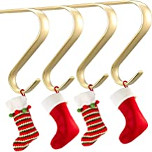 Oubomu Zinc Alloy Christmas Stocking Hangers for Mantel Set of 4, Fireplace Adjustable Stocking Holders with Non-Skid Mat,...