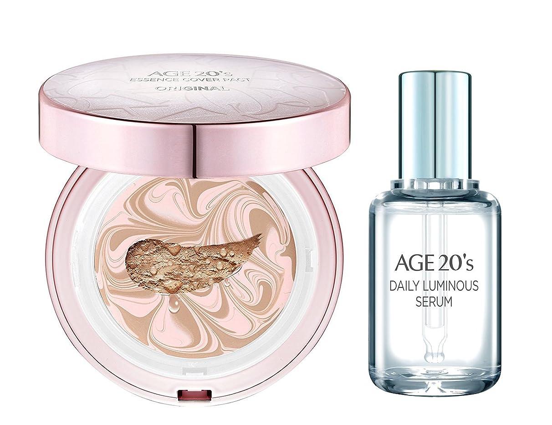 一節ホイール中性[AGE 20s] エッセンス カバー パクト オリジナル(ESSENCE COVER PACT)+ GIFT (贈り物): Daily Luminous Serum 50ml / 韓国直送品 (ピンクラテ Pink Latte 21号)