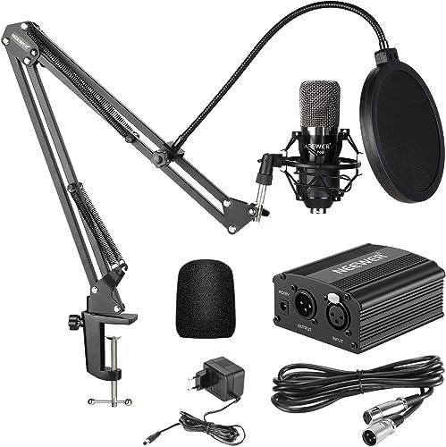Neewer NW700 Kit de Microphone à Condensateur avec Micro Noir 48V Alimentation Fantôme NW35 Support de Bras avec Anti...