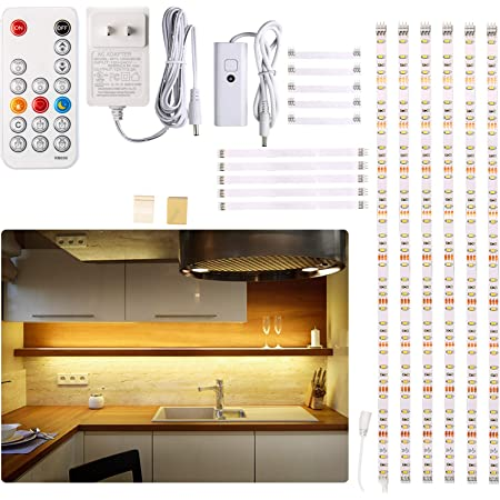 Under Cabinet Led Lighting Kit 6 Pcs Led Strip Lights With Remote Control Dimmer And Adapter Dimmable For Kitchen Cabinet Counter Shelf Tv Back Showcase 2700k Warm White Bright Timing