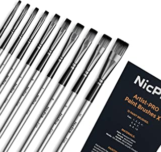 Nicpro 10 PCS Flat Paint Brush Set Art Painting Brushes for Acrylic Watercolor Oil Gouache, Artist Kit for Kid & Adult