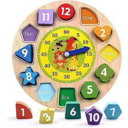 DARLINGTON /& Sohns Kinder Holz Uhr Lernspiel Uhrzeit Lernen Kinder Zeit Lesen Lernuhr Lernen Spiel