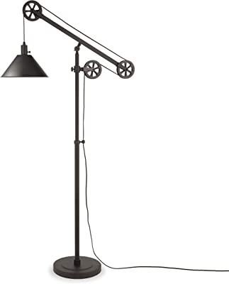Henn&Hart FL0022 Modern Industrial Pulley System Contemporary Blackened Bronze with Metal Shade for Living Room, Office, Study Or Bedroom Floor Lamp, One Size, Black