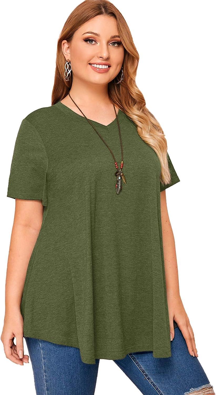 Floerns Women's Plus Size Short Sleeve V Neck Swing Tunic Tee Shirts Tops