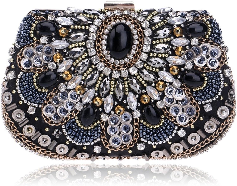 Ladies Handbag Women's Beaded Handbags Crossbody Clutch Purse Party Evening Bag (color   Black)