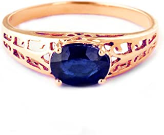 14k Solid Rose Gold Filigree Ring with 1.15 Carat Natural Blue Sapphire