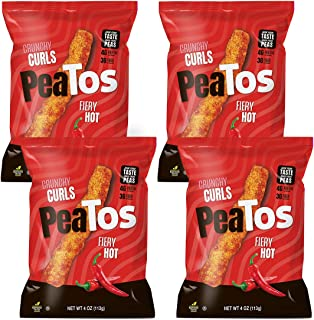 Peatos Crunchy Curls Snacks, Fiery Hot, 3 Ounce (4 Count), Junk Food Taste, Made from Peas, Serious Heat, 4g Protein and 3g Fiber, Pea Plant Protein Snack