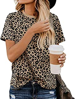 XVSSAA Women's Casual Cute Shirts Leopard Print Tops Basic Short Sleeve Round Neck Soft Blouse
