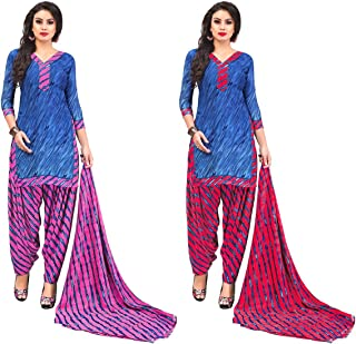 Jevi Prints - Pack of 2 Unstitched Women's Unstitched Synthetic Crepe Salwar Suit Dupatta Material (R-9158_B-9158_D)