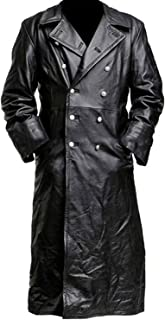 German Classic Officer WW2 Military Uniform Black Leather Trench Coat