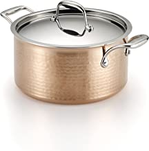 Lagostina Q5544664 Martellata Tri-ply Hammered Stainless Steel Copper Dishwasher Safe Oven Safe Stewpot Cookware, 5-Quart,...