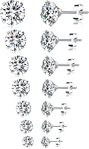 Tornito 6-7 Pairs 20G Stainless Steel Stud Earrings Round Square Cubic Zirconia Earring Set For Men Women 2MM-8MM
