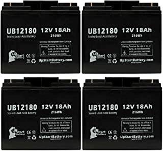 4 Pack Replacement for APC Smart-UPS 1400XL 208V SU1400XLTNET Battery - Replacement UB12180 Universal Sealed Lead Acid Battery (12V, 18Ah, 18000mAh, T4 Terminal, AGM, SLA)