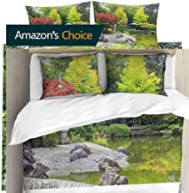 shirlyhome Hotel Luxury Bed Sheets Red Tree Near The Green Pond in Japanese Garden in Bonn,Germany Hypoallergenic Bed Sheet Set and Pillow Case Set Queen