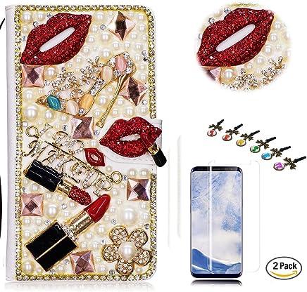 STENES Galaxy S8 Active Case - STYLISH - 3D Handmade Crystal Lipstick High Heel Flowers Wallet