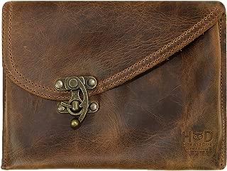 Hide & Drink, Petit Vintage Leather Clutch Bag Handmade Includes 101 Year Warranty :: Bourbon Brown