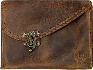 Petit Vintage Leather Clutch Bag Handmade Includes 101 Year Warranty :: Bourbon Brown