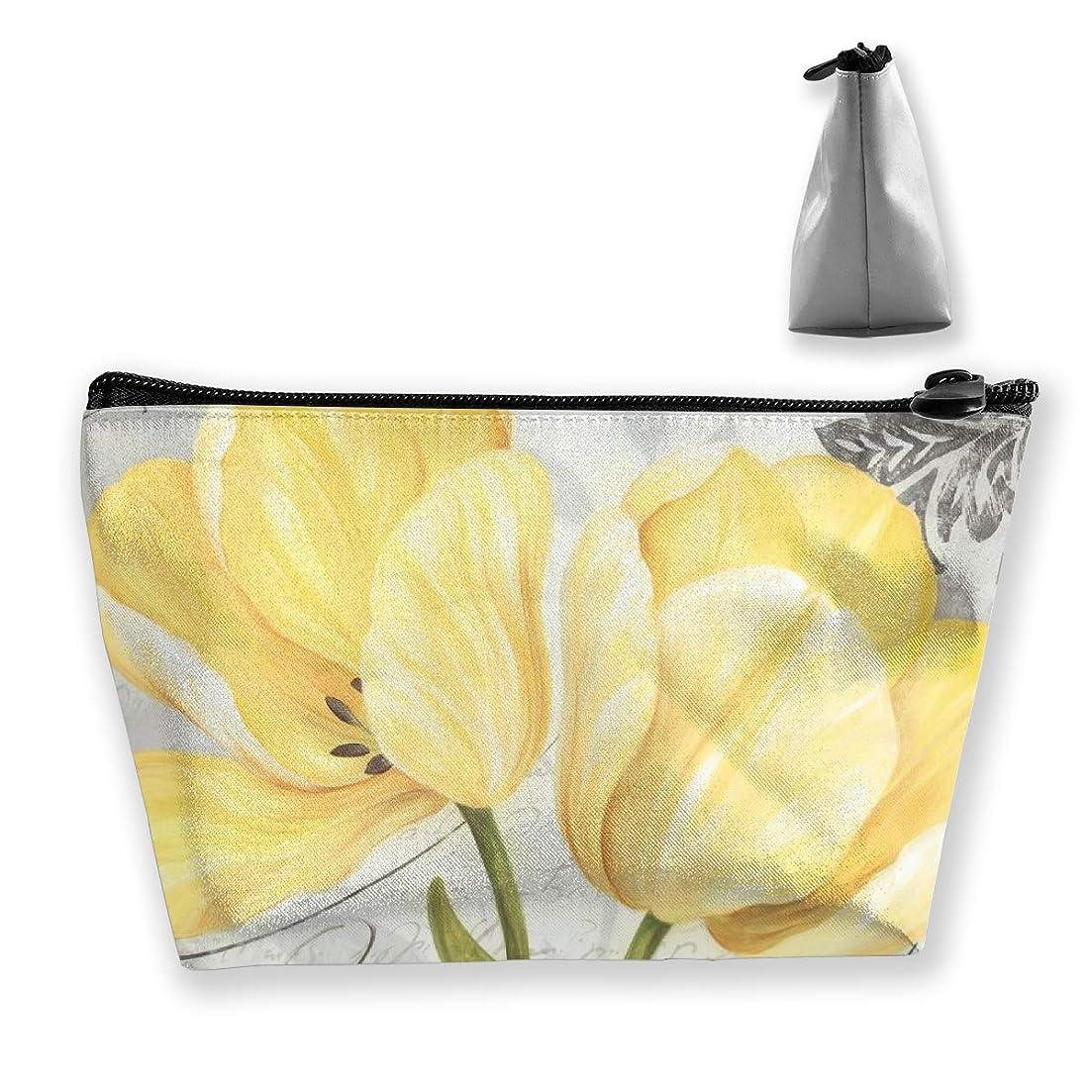 コスチューム利用可能友だちSzsgqkj 美しい灰色と黄色の花 化粧品袋の携帯用旅行構造の袋の洗面用品の主催者