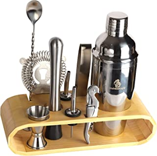 Stainless Knight Stainless Steel Cocktail Shaker Drink Maker | Includes Stirring Spoon, Measuring Jigger, Ice Tongs, Hand Mixer, Bottle Opener, Hawthorne Strainer, Stand,| Portable Bartend