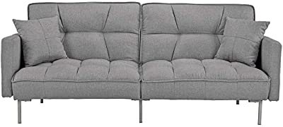 Living Room Convertible Linen Fabric Tufted Splitback Futon Couch Furniture Beige