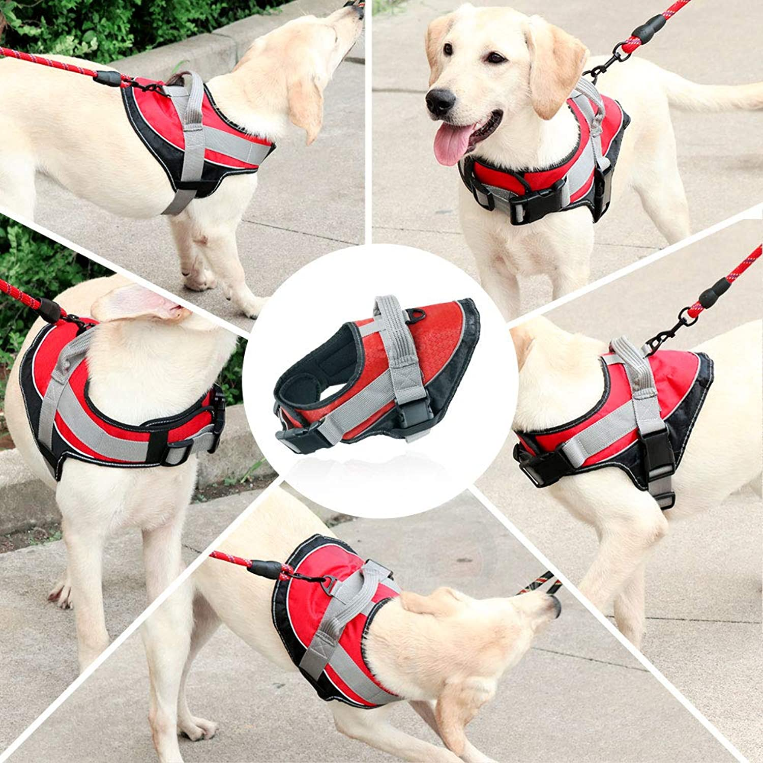 KITAINE Dog Harness No Pull for Small Medium Large XL Dogs, Heavy Duty Soft Padded Adjustable Dog Vest Harness Reflective Comfortable Control for Pet Training Walking Harnesses with Handle (S, Red)