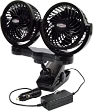 RoadPro RPSC8572 Black 10X7X12 12-Volt Dual Fan with MOUNTING Clip, 2 Pack