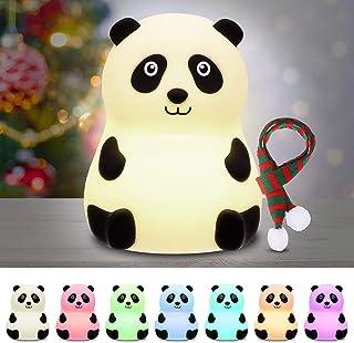 Luz de Noche Bebé, Elfeland Luz Nocturna Infantil Luz de 7 Colores Multicolor USB Recargable 1.5W 1200MA Lámpara Quitamiedos Portátil para Habitación de Bebé Dormitorio Salón Camping Picnic