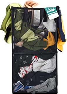 Bird&Fish Laundry Hamper Breathable Popup Mesh Large Capacity Collapsible Basket with Durable Handles Easy to Open Rectangle Clothes Hamper for Travel Toys Organizer (Black, 2 Layer)