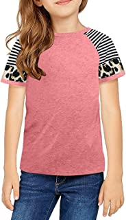 ZIWOCH Girls Short Sleeve Shirts Casual Colorblock Striped Loose Tops Tee Shirts Blouse Size 4-13