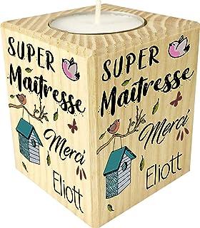 Bougie personnaliséeSuper Maîtresse Merci – Porte Bougie en bois personnalisé avec le prénom – Cadeau de fin d'année scol...