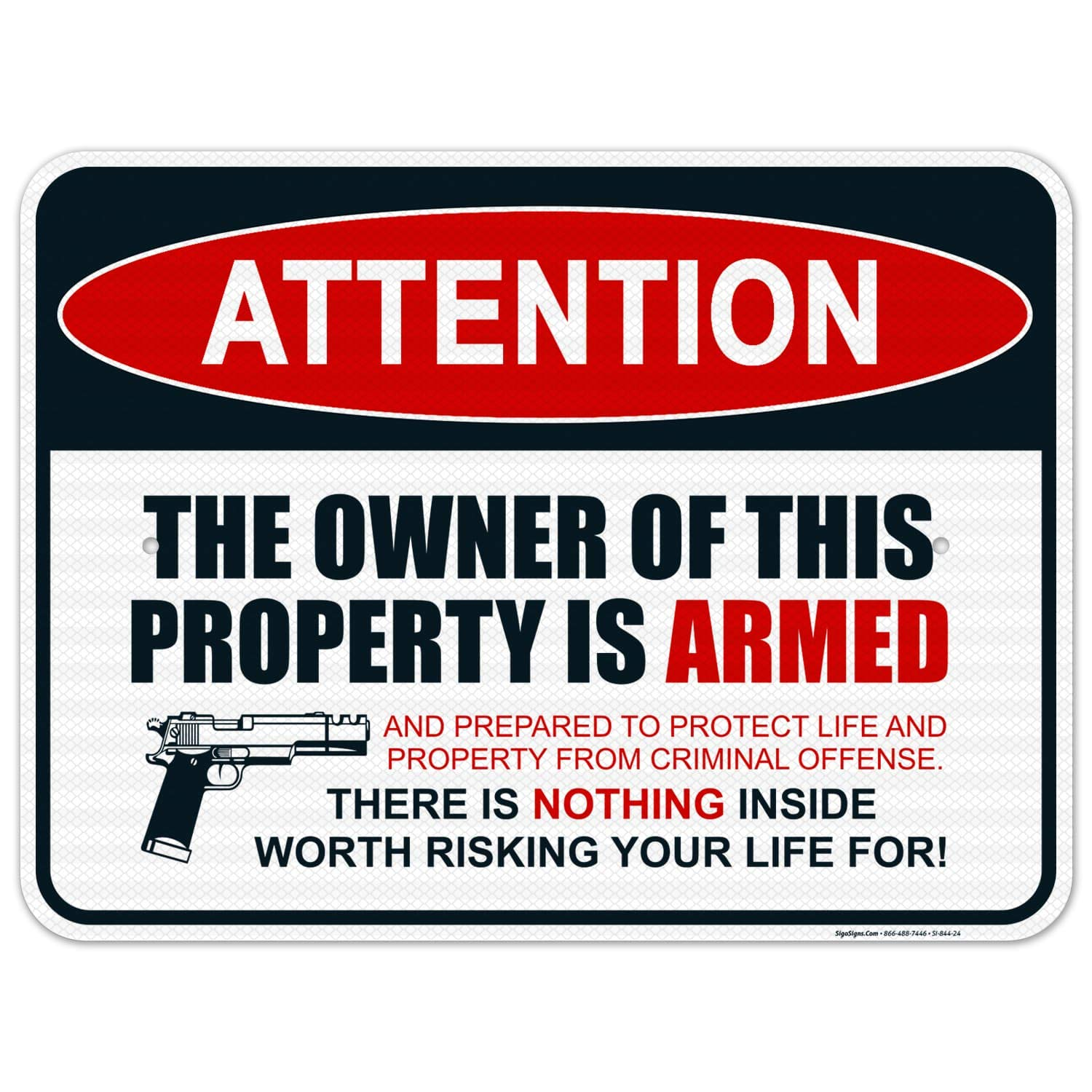 Gun Sign The Owner of This is 5% OFF Armed Property 18x24 Outlet sale feature Inches