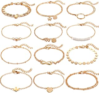 12 Pcs Dainty Bracelets Set for Women Girls Handmade Simple Cute Charm Chain Bracelet Adjustable Bracelet Set
