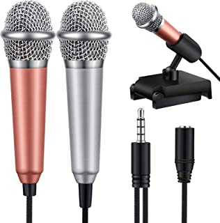 Frienda 2 Pieces Mini Microphone with Holder Clip Karaoke Mini Microphone Portable Vocal Microphone for Voice Recording Ch...