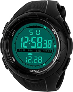 005f14181 Mens Sports Digital Watch - 5 Bars Waterproof Military Digital Watches with  Alarm Timer