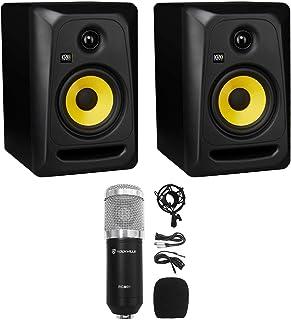 """(2) KRK CLASSIC 5 Studio Monitor 5"""" Nearfield Powered Speakers+Condenser Mic"""