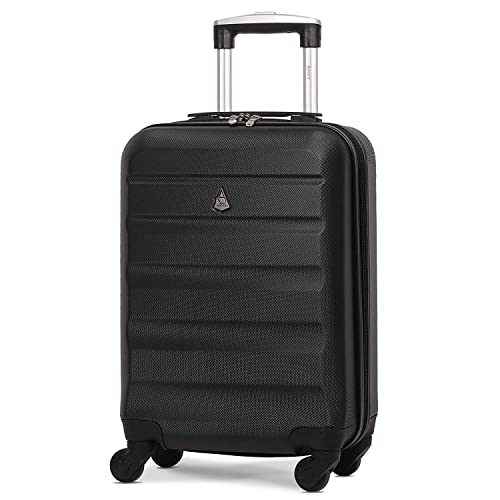 75ae57007 Aerolite Lightweight 55cm Hard Shell 4 Wheel Travel Carry On Hand Cabin  Luggage Suitcase Black Approved