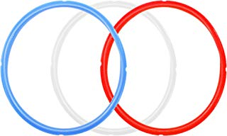 WaterLuu ColorFul Instant Pot Sealing Ring, Fit 5 Quart,6 Quart Models,Silicone Sealing Ring for Instant pot accessories Red/Blue/White,BPA-free (3 Pack)