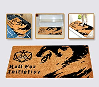 Roll for Initiative Welcome Mat Brown Coir Funny Doormat Printed with Dragon and D20 Roleplaying Tabletop RPG Gaming Non-S...