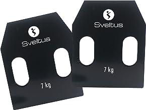 Sveltus Stalen platen met handgrepen, ca. 7 kg, volwassenen, uniseks, zwart, eenheidsmaat