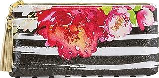 "Santa Barbara Designs Studio Oil Cloth Bag, Black Stripes Roses, 10"" W x 5"" H x 2"" D"