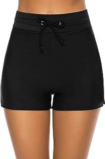 Women's Swim Shorts High Waisted Bathing Suit Bottoms Drawstring Swimsuit Boy Shorts