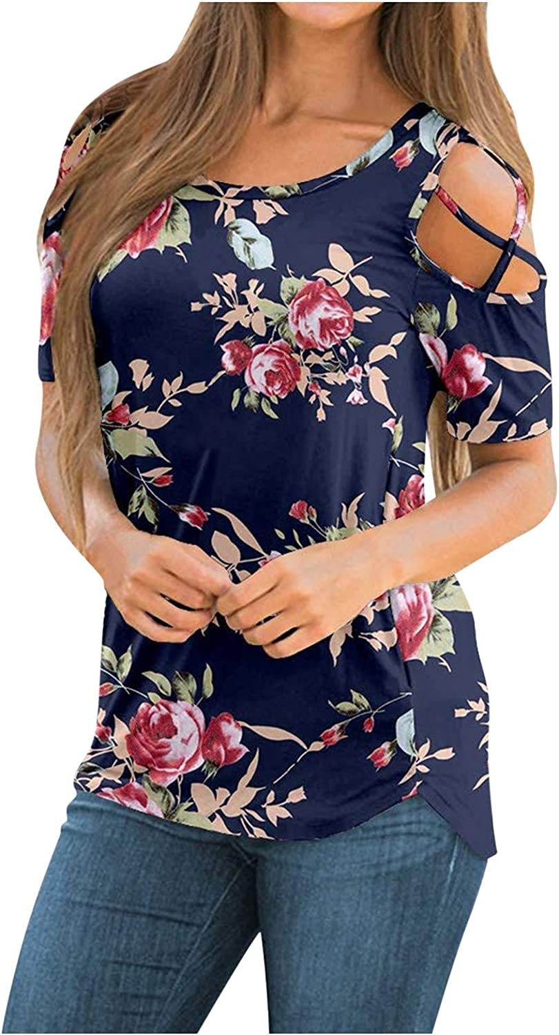 Summer Shirts for Women,Womens Summer Casual T Shirts Short Sleeve Strappy Cold Shoulder Blouses Tunic Tee Tops Navy
