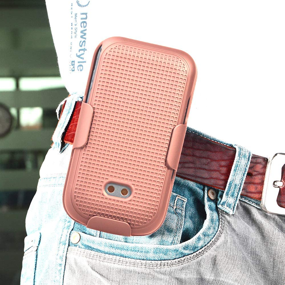 Case with Clip for Sonim XP3, Nakedcellphone [Rose Gold Pink] Protective Snap-On Cover with [Rotating/Ratchet] Belt Hip Holster Holder Combo for Sonim XP3 Flip Phone (XP3800)